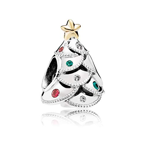 UNIQUEEN 925 Sterling Silver Tree Charms Crystal Beads fit Pandora Charm Bracelet & Necklace