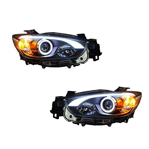 2 Stück Scheinwerfer für CX-5 2013-2015 Bi-Xenon Linse Projektor Doppellicht Xenon HID Kit mit LED-Tagfahrlichtern