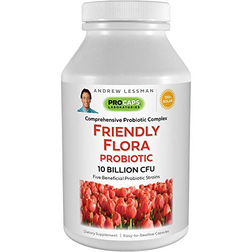 Andrew Lessman Friendly Flora Probiotic 180 Capsules – 10 Billion CFU, Comprehensive Blend of Five Probiotic Strains, Powerful Immune and Digestive Support. Probiotics for Women or Men
