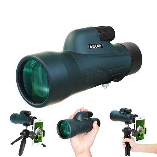 ESSLNB Monocular 12X50 Monocular for Adults BAK4 Prism with Tripod Phone Adapter Waterproof Fogproof for Hunting Camping Travelling Wildlife Scenery