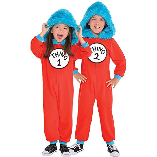 Costumes USA Dr. Seuss Thing 1 & Thing 2 One Piece Halloween Costume for Toddlers, 3-4T, with Attached Hood