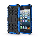 luolnh IPod Touch 5/6 Case, 2 in 1 Hybrid Armor Cover Tough Protective Hard Kickstand Phone Case for Apple iPod touch 5th/6th Generation(Blue)