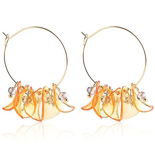 Persdico Pendientes colgantes largos con borla de flor de naranja fresca a la moda para mujer, pendientes de gota de regalo de boda de cumpleaños para mujer, joyería