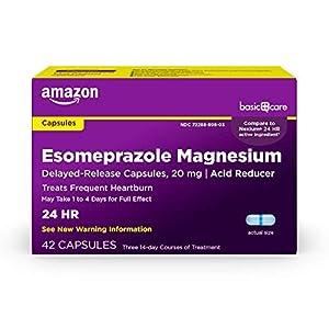 Amazon Basic Care Esomeprazole Magnesium Delayed Release Capsules, 20 mg, Acid Reducer, 42 Count