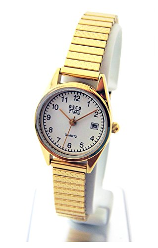OSCO Klassik Damen Armbanduhr Edelstahl-Flexband Datum \'Gold\' 03725009