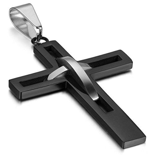 OIDEA Collar Hombre Cruz Acero Inoxidable Crucifijo Negro Joyería de Moda Regalo San Valentín Navidad