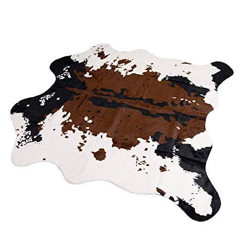 MustMat Brown Cow Print Rug 55.1' W x 62.9' L Faux Cowhide Rugs Cute Animal Printed Carpet for Home