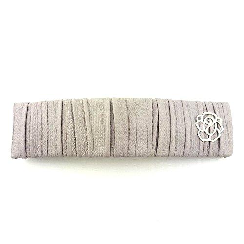 rougecaramel - Accessoires cheveux - Barrette cheveux rectangulaire simili cuir - gris