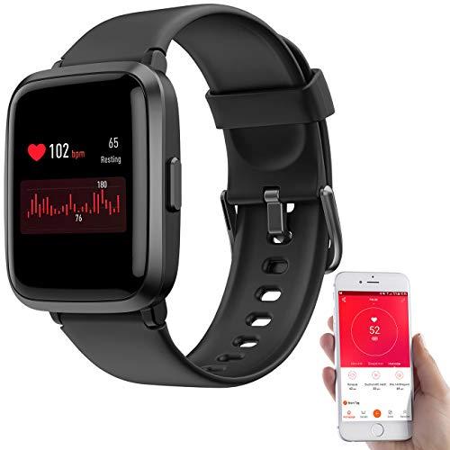 Newgen Medicals Smartwatch: Fitness-Armband mit Glas-Touchscreen-Display, SpO2-Anzeige, App, IP68 (Handy Uhr)