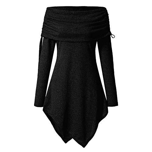 Adelina 2019 Dameskleding plus maat vrouw mode solide geafft lange modieuze complex plooien halsband tuniek onregelmatige bovenstuk trui
