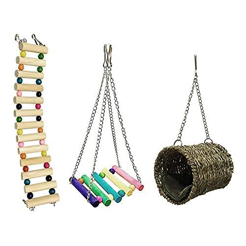SANON 3 Piezas Puente Colgante de Hámster Juego de Juguetes Colgantes de Hámster para Mascotas Cama Colgante Escalera de Madera Columpio Jaula de Juguete para Ardilla Rata Chinchilla