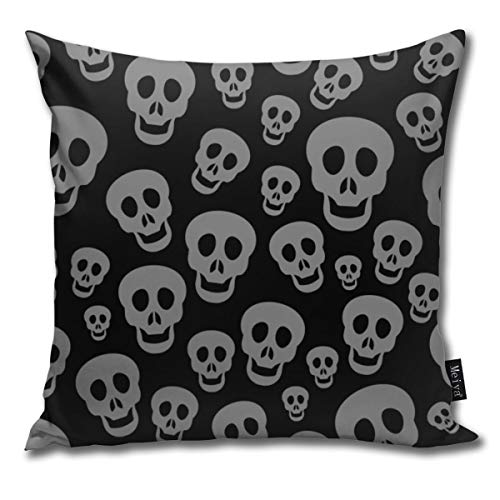 Elsaone Black Skull Decorative Home Decor Christmas Sofa Couch Desk Chair Bedroom 18 x 18 Inch 45 x 45 cm
