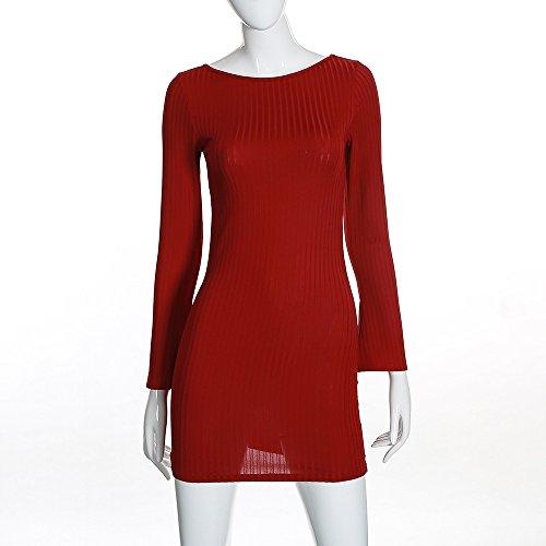 Vestidos De Cortos Mujer Casual Primavera Otoño Manga Larga Cuello Redondo Sencillos Especial Vestido De Tubo Elegante Backless Slim Fit Color Sólido Básicos Estilo (Color : Rojo, Size : M)