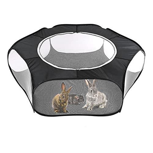 Aiglen Valla plegable para juegos de mascotas pequeñas, parque para mascotas con cubierta, tienda de arrastre para ejercicio de animales pequeños para accesorios para mascotas de interior al aire libr