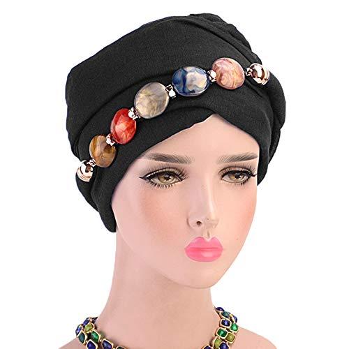 CAFFAINA Collar de joyería para Mujer, Bufanda para la Cabeza de Gasa, mantón étnico, Gorro de Turbante musulmán Hijab, Oscuro