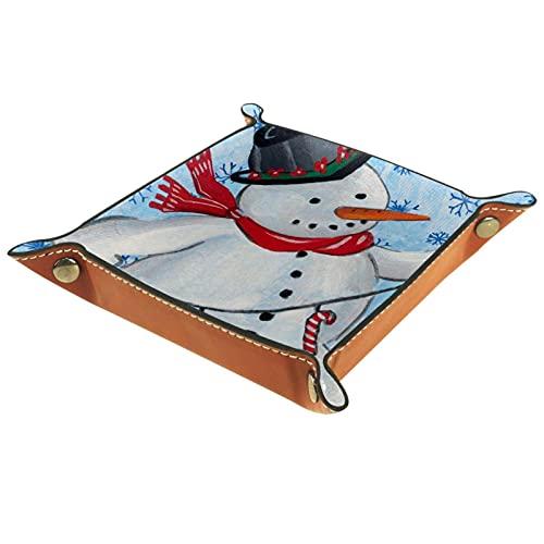 Caja de almacenamiento pequeña, bandeja de valet para hombre,Cadena en el muñeco de nieve decorativo colorido invierno navidad luz copo de nieve ,Organizador de cuero para llaves de caja de monedas
