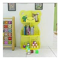 本棚の装飾 クラフトカービング3ティアブックビン漫画ベア本棚環境玩具ストレージラック幼稚園書棚で絶妙な中空 本棚ギフト (Color : Yellow)