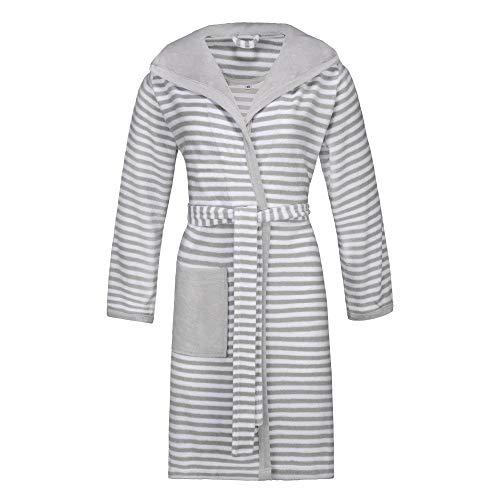 ESPRIT badjas voor dames, gestreept, hoody met capuchon, licht badstof