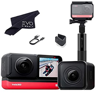 Insta360 ONE R Twin Edition - Super 5.7K Dual-Lens 360 Camera + 4K Wide Angle 60FPS with Invisible Selfie Stick Bundle (2 Items) from Insta360