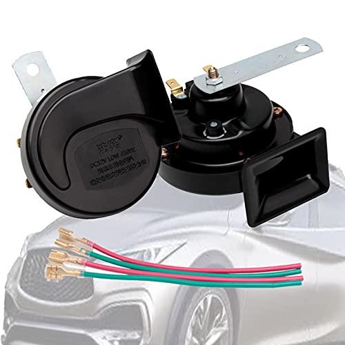 HLDUYIN Claxon Moto 12v Cuernos De Automóvil De Doble Tono 115db mpermeable bocina 510hz/410hz Tono Alto y Tono Bajo Horn Kit para Coche, Furgoneta, camión, autobús(2pcs)