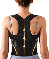 🙆BREATHABLE FABRIC & DUAL ADJUSTABLE DESIGN - The back brace is made of breathable fabrics. It makes you stay cool while wearing it, also the characteristic of lightweight design is invisible when wearing under clothing, whats more, this breathable b...