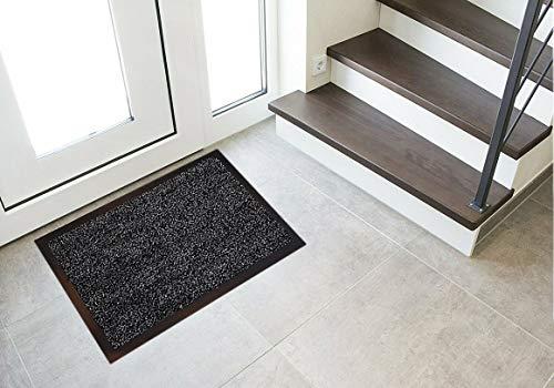 Floorcover Fußmatte rutschfest - Türvorleger & Schmutzabstreifer in Grautönen bleibt der Schmutz draußen und das Zuhause sauber (40 x 60 cm) (Anthrazit)