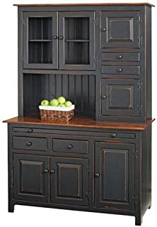 Solid Wood Pine Hoosier Buffet Server and Hutch with Cupboard Storage Space (Primitive Paint- Black)