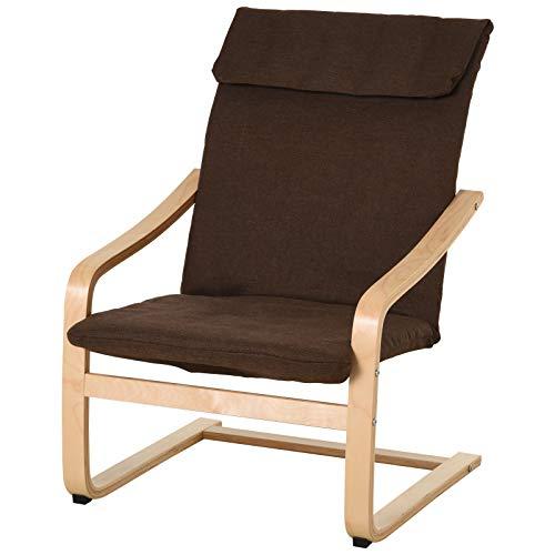 HOMCOM Relaxsessel Ruhesessel Relaxstuhl mit Armlehne Leinenbezug Holzgestell Braun
