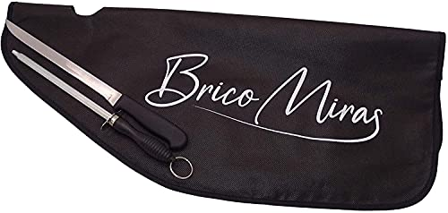 Set cubre jamon Bricomiras + cuchillo y chaira, pack Bricomiras compuesto por cuchillo y chaira + cubre jamones Bricomiras, set de corte doméstico (Set1)