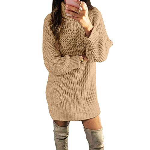 Melancholy Rose dames lange trui trui coltrui effen kleur trui slank gebreide jurk vrouwen truien