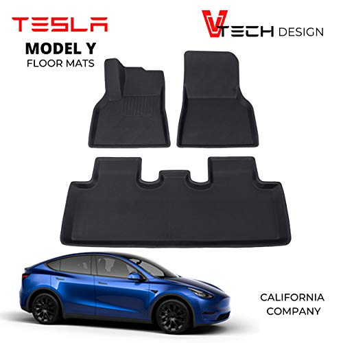 V Tech Design Tesla Model Y Floor Mats - 2020 - Custom Fit Stylish All Weather - Premium 3D Design - Tough Light Weight Waterproof Material - Non Slip Flooring - No Logo