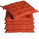 Detex 6er Set Stuhlkissen 45x45x5cm Bänder Viskoeffekt Indoor Outdoor Stuhlauflage Kissen Sitzkissen Auflage Polster Terracotta