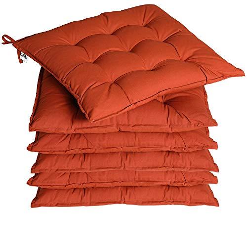 Deuba 6X cojínes Cozy Terracota para sillas almohadones Interior y Exterior Asiento con Cintas de sujetación 45x45cm