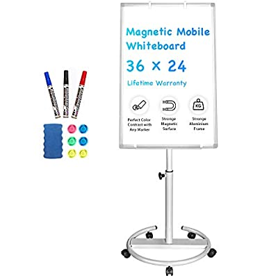 Mobile Whiteboard – 36 x 24 inches Portable Magnetic Dry Erase Board Stand Easel White Board Dry Erase Easel Standing Board w/Flipchart Hooks