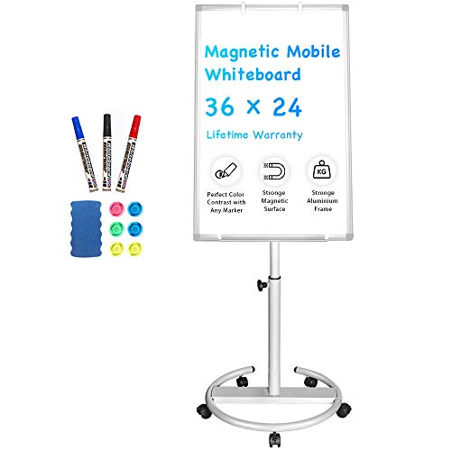 Mobile Whiteboard – 36 x 24 inches Portable Magnetic Dry Erase Board...