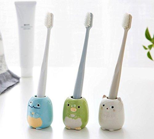 LONGPRO 陶器 歯ブラシスタンド 歯ブラシ立て トゥースブラシスタンド かわいい3色組