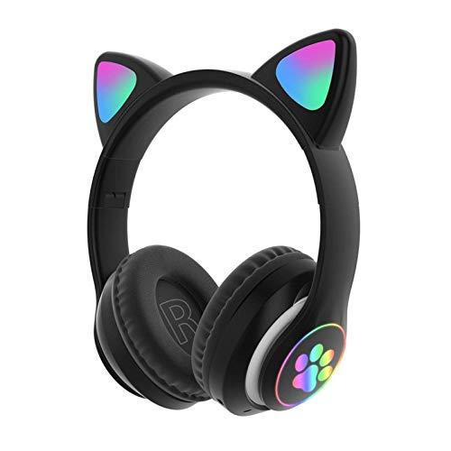 POHOVE Süß Stereo Gaming Headset mit Mikrofon, Katze Ohr Mit LED Licht Blinkende Leuchtende Modisch Kabellos Bluetooth Leicht Selbstjustierend Über Ohr Kopfhörer Für Damen Kinder - Schwarz, Free Size