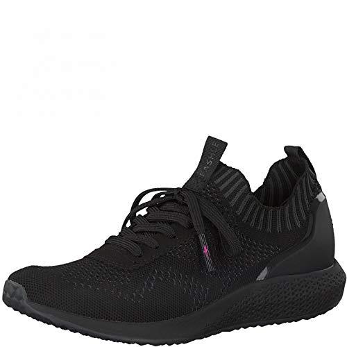 Tamaris Damen Low-Top Sneaker, Frauen Halbschuhe,lose Einlage,schnürschuhe,Halbschuhe,straßenschuhe,Freizeitschuhe,keil,Black/DK.Grey,40 EU / 6.5 UK