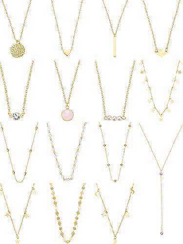 15 Stücke Layered Choker Halskette für Damen Mädchen Münze Stern Multilayer Kette Halsketten Set Einstellbar (Gold 1)