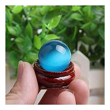 Acxico 1 Pcs Blue Cat s Eye Opal Natural Quartz Crystal Treatment Stone Spherical Ball 20mm Decor + Spherical Bracket