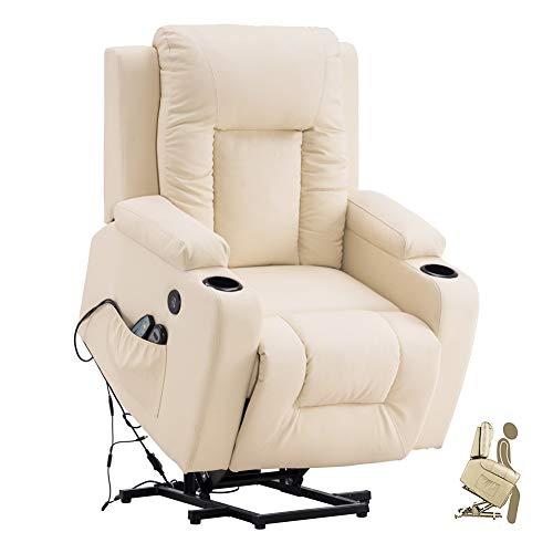 YoKen Relaxsessel Elektrisch Aufstehhilfe Seniorensessel Sofa Fernbedienung Massagesessel Wärmefunktion Fernsehsessel Verstellbar mit 2 USB Getränkehalter for Wohnzimmer Schlafzimmer Büro (Beige)