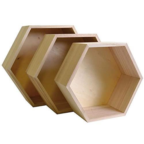 Youdoit 3 estantes hexagonales de madera