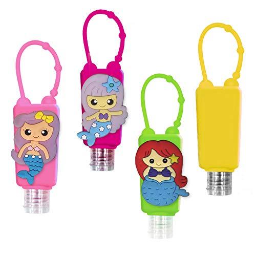 Set Bottiglie Ricaricabili per Bambini, in plastica, con custodia in silicone, 30 ml (Mermaids)