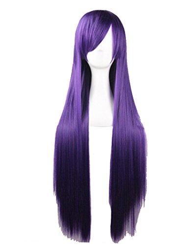 Quibine 80cm Longue Ligne Droite Perruque Cosplay Multicolore Perruques Violette