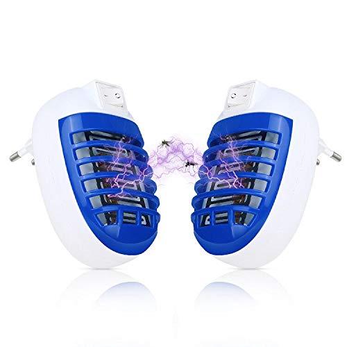 Redmoo Mosquito Killer Lamp, 2 Stück UV-Licht LED Insektenvernichter Elektrisch Mückenkiller Steckdose Licht Insektenfalle Mückenstecker Mückenlampe Schutz Für Innen Schlafzimmer Gärten