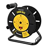 DEWENWILS Extension Cord Storage Reel with 4-Grounded Outlets, Heavy Duty Open Cord Reel for 12/3,14/3,16/3 Gauge Power Cord, Hand Wind Retractable, 13A Circuit Breaker, Yellow, ETL Listed