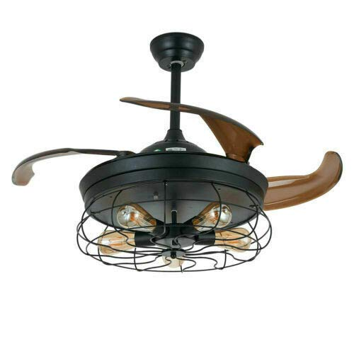 Ventilador de techo LED vintage retro de 42 pulgadas con jaula industrial de metal negro, 4 aspas retráctiles y 5 luces, controlables por mando a distancia incluido