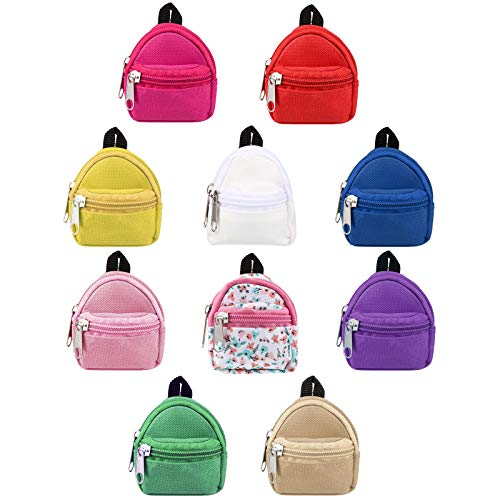 10 Pieces Doll Backpacks Doll Bags Mini Zipper Doll Backpacks Cute School Bags Doll Accessories Toy Supplies for Doll Play Sets