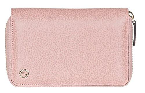 Gucci Women's Soft Pink Leather Interlocking GG Zip Around Wallet
