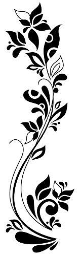 EmmiJules Wandtattoo Blumenranke (110cm x 35cm) - in verschiedenen Größen erhältlich - Made in Germany - Ranke Flur Wohnzimmer Ornament Schlafzimmer Wandaufkleber Wandsticker Pflanzen Frühling Sommer